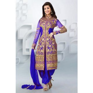 Attractive Blue Semi Stitched Party Wear Salwar Kameez EBSFSK09107B