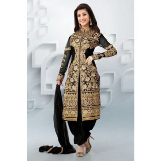 Sage Black Semi Stitched Party Wear Salwar Kameez EBSFSK09107C