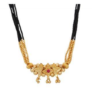 Black With Golden Maharashtrian Mani Mangalsutra For Women JSMJWMS0056