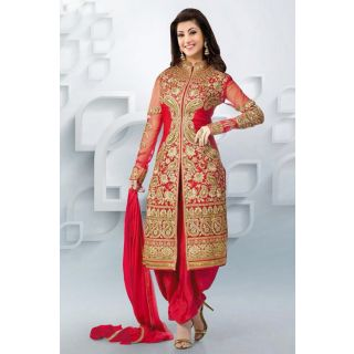Wonderful Red Semi Stitched Party Wear Salwar Kameez EBSFSK09107D