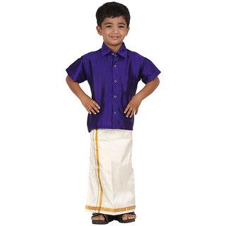 EASJAY Brands Boys Art Silk Violet Shirt Dhothi Set