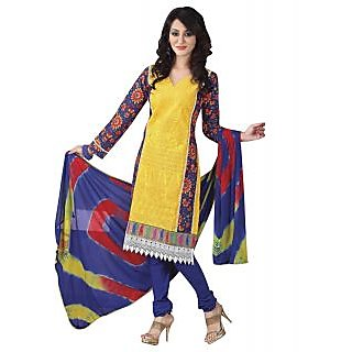 Surat Tex Yellow Designer Embroidered Pure Cotton Un-Stitched Dress Material