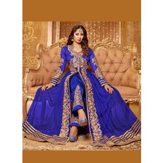 Fabulous Blue Semi Stitched  Wedding Wear Salwar Kameez EBSFSK14201C
