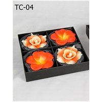 Handmade Red Flower Shaped 4 Floating Candle Set-2 Rose & 2 Plumeria