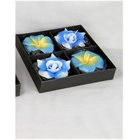 Handmade Blue Flower Shaped 4 Floating Candle Set-2 Rose & 2 Plumeria