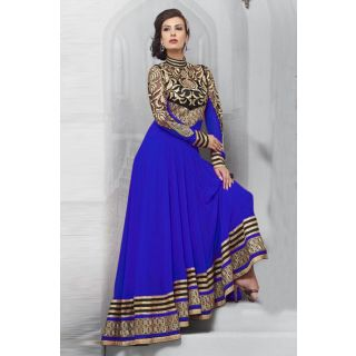 Dashing Blue Semi Stitched  Wedding Wear Salwar Kameez EBSFSK14202C
