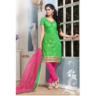 Refreshing Green Party Wear Chanderi Cotton Salwar Suit