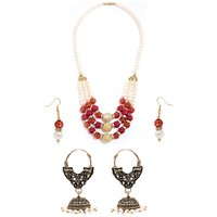 Smart Rajwada Necklace with Free Jhumki Earring Combo by GoldNera