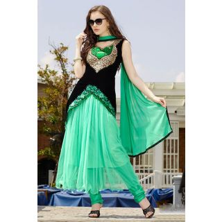 Wonderful Green Semi Stitched  Party Wear Salwar Kameez EBSFSK14205E