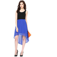 Harpa WomenS Dress Royal Blue Georgette Sleeveless Midi Dress