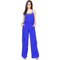Harpa Pretty Blue Crepe Sleeveless Round Neck Rompers