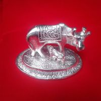 eCraft White Metal Cow And Calf Statue (Height*Length- 7*8 cms)