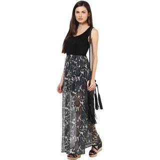 Harpa WomenS Dress Grey Georgette Sleeveless Maxi Dress