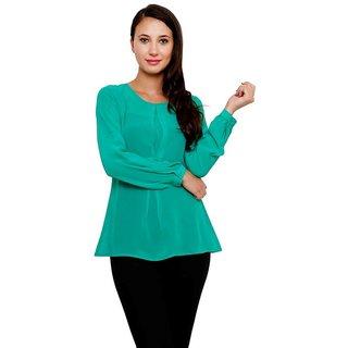 Rumara  Green Georgatte Women Tops