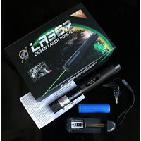 100 mW Green +Red +DISCO Light Laser Pointer with Charger  18650 ,Li Cell +Key