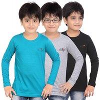 DONGLI BOYS MARVELLOUS FULL SLEEVE T-SHIRT (PACK OF 3)DLF450PETROLWMBLACK