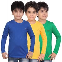 DONGLI BOYS MARVELLOUS FULL SLEEVE T-SHIRT (PACK OF 3)DLF450RBLUEGYELLOWGREEN