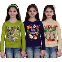 SINIMINI GIRLS PRINTED FULL SLEEVE TSHIRT (PACK OF 3)SMF700MEGANDIPURPLEBEIGE