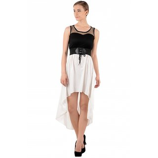Raabta Womens Black with White Tell Cut Party wear Dress RDW115
