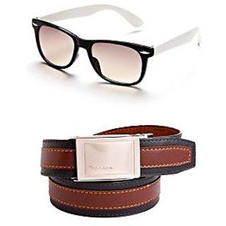 Black-White Wayfarer Unisex Sunglasses With Italian Leather Buckle Belt