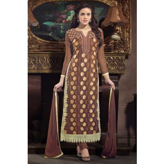 Marvelous Brown Semi Stitched Party Wear Salwar Kameez EBSFSK15501A