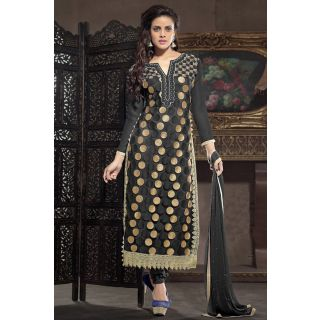 Stunning Black Semi Stitched Party Wear Salwar Kameez EBSFSK15501B