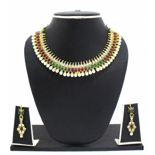 Zaveri Pearls Indian ethnic jadau Necklace Set-ZPFK3000