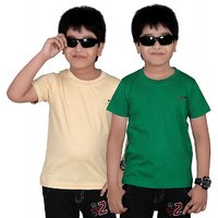 DONGLI SOLID BOY'S ROUND NECK T-SHIRT (PACK OF 2)DL450_BEIGE_GREEN