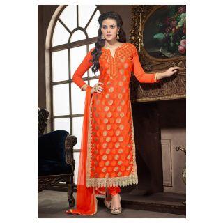 Dashing Orange Semi Stitched Party Wear Salwar Kameez EBSFSK15501H