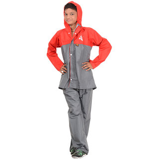 Polyester Boys Rainsuit,P-1123 -GREY-M