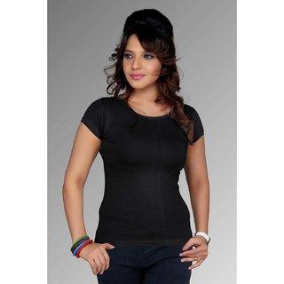 Clifton Women's Round Neck Plain T-Shirt - Black