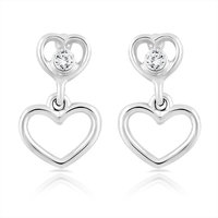 Mahi Rhodium Plated Double Heart Dangler Earrings With Crystal