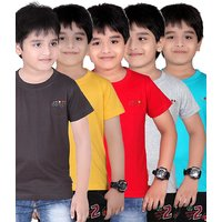 DONGLI SOLID BOY'S ROUND NECK T-SHIRT(PACK OF 5)DL450_DGREY_GYELLOW_RED_WM_TB
