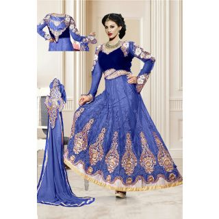 Dashing Diva Blue Semi Stitched Wedding Wear Salwar Kameez EBSFSK15508A