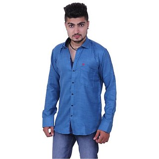 Austrich Blue Cotton Casual Shirt