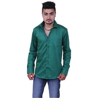 Austrich Green Cotton Casual Shirt