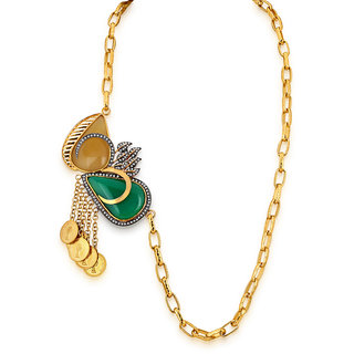 Hsk Green And Beige Brass Handmade Fashion necklace for Women