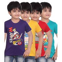 DONGLI PRINTED BOYS ROUND NECK T-SHIRT ( PACK OF 4 )DLH443_PURPLE_GYELLOW_RED_TB