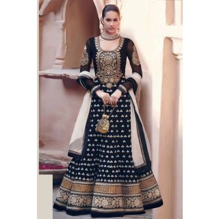 Marvelous Black Semi Stitched Wedding Wear Salwar Kameez EBSFSK15512A