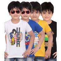 DONGLI PRINTED BOYS ROUND NECK T-SHIRT ( PACK OF 4 )DLH443WHITERBLUEGYBLACK