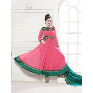 Thankar Peach And Green Embroidered Georgette Anarkali Suit
