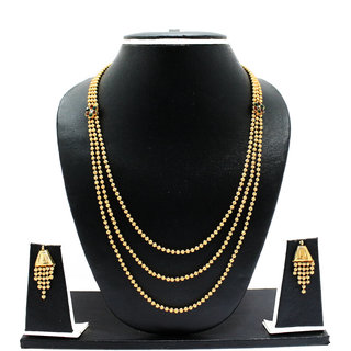 Zaveri Pearls Three Layered Haram Necklace Set for Women-ZPFK1916