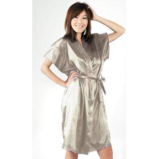 Anangee Satin Sleepwear Kimono Silver