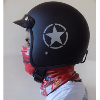 Retro styled Jet Star Helmet (Size L) (Matt Black) ( ISI Approved )