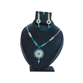 Soundarya Jewellary Crystal Blue Neckpiece