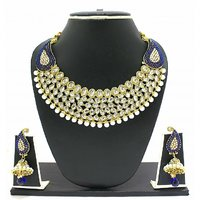 Zaveri Pearls BlueGolden Alloy Gold Plated Necklace Set For Women