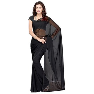 Black Georgette Plain saree