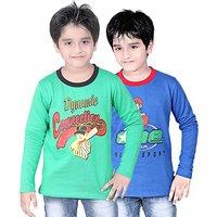 DONGLI BOYS SWEATSHIRT T-SHIRT ( PACK OF 2 )-DLLNF500-GREEN_RBLUE