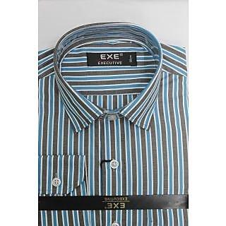 Exe Sky Blue N Grey Full Sleeve Men's Shirt