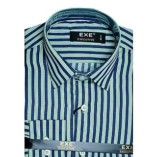 Exe Green N Navy Blue Full Sleeve Men's Shirt